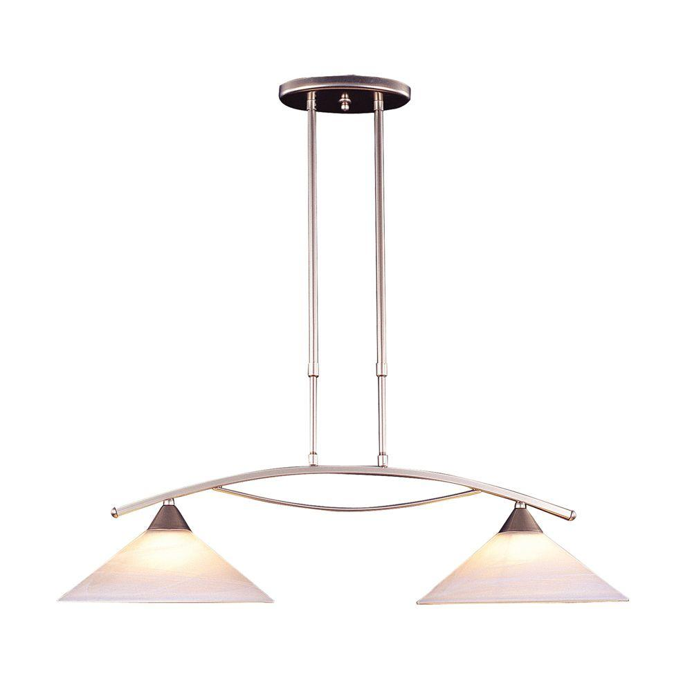 Titan Lighting Elysburg Light Satin Nickel Island Light With White - 2 light island chandelier