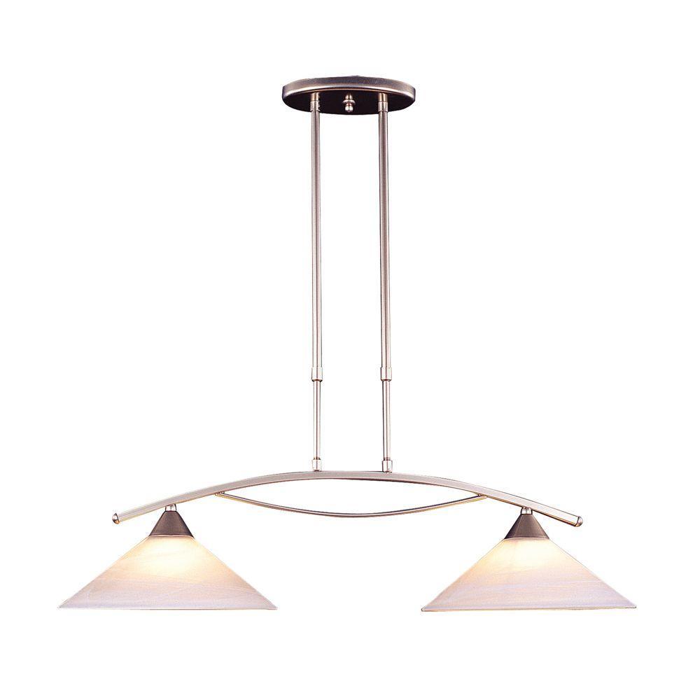 Titan Lighting Elysburg Light Satin Nickel Island Light With White - 2 light island chandelier