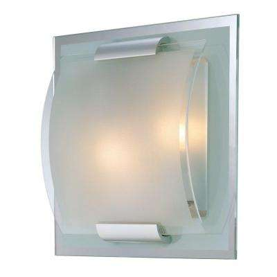 Reva 2-Light Polished Steel Sconce with Clear and Frosted Glass