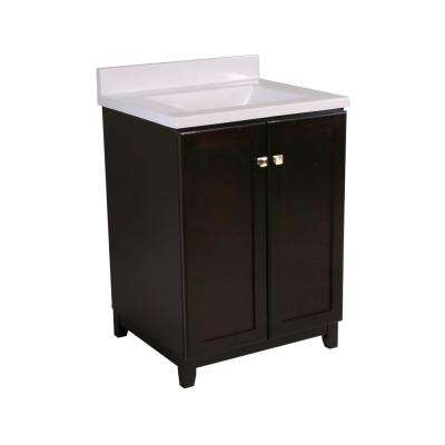 24 in. x 21 in. x 33 in. Shorewood 2-Door Vanity with White Cultured Marble Top with Rectangular Basin