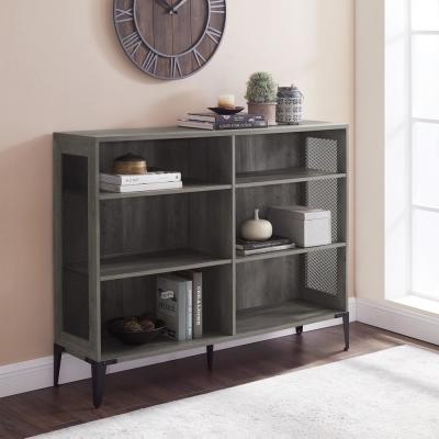 40.25 in. Gray Wash Wood 6-shelf Standard Bookcase with Adjustable Shelves