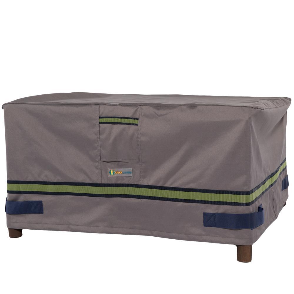 Soteria 26 in. Grey Square Patio Ottoman/Side Table Cover