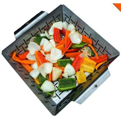 Vegetable Grill Basket Stainless Steel Large Non Stick BBQ Grid Pan for Veggies Meat Fish Shrimp - Barbecue Wok Topper