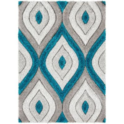 San Francisco Malibu Blue Modern Trellis Ogee 9 ft. 3 in. x 12 ft. 6 in. 3D Carved Shag Oversized Area Rug