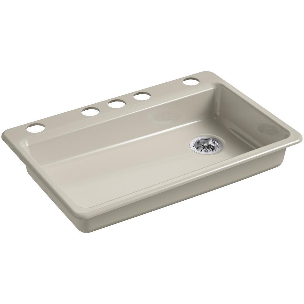 Riverby Undermount Cast Iron 33 in. 5-Hole Single Bowl Kitchen Sink in Sandbar