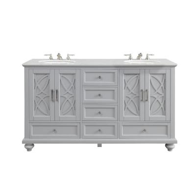 Colford 62 in. W x 22 in. D Bath Vanity in Gray with Marble Vanity Top in White with White Basin