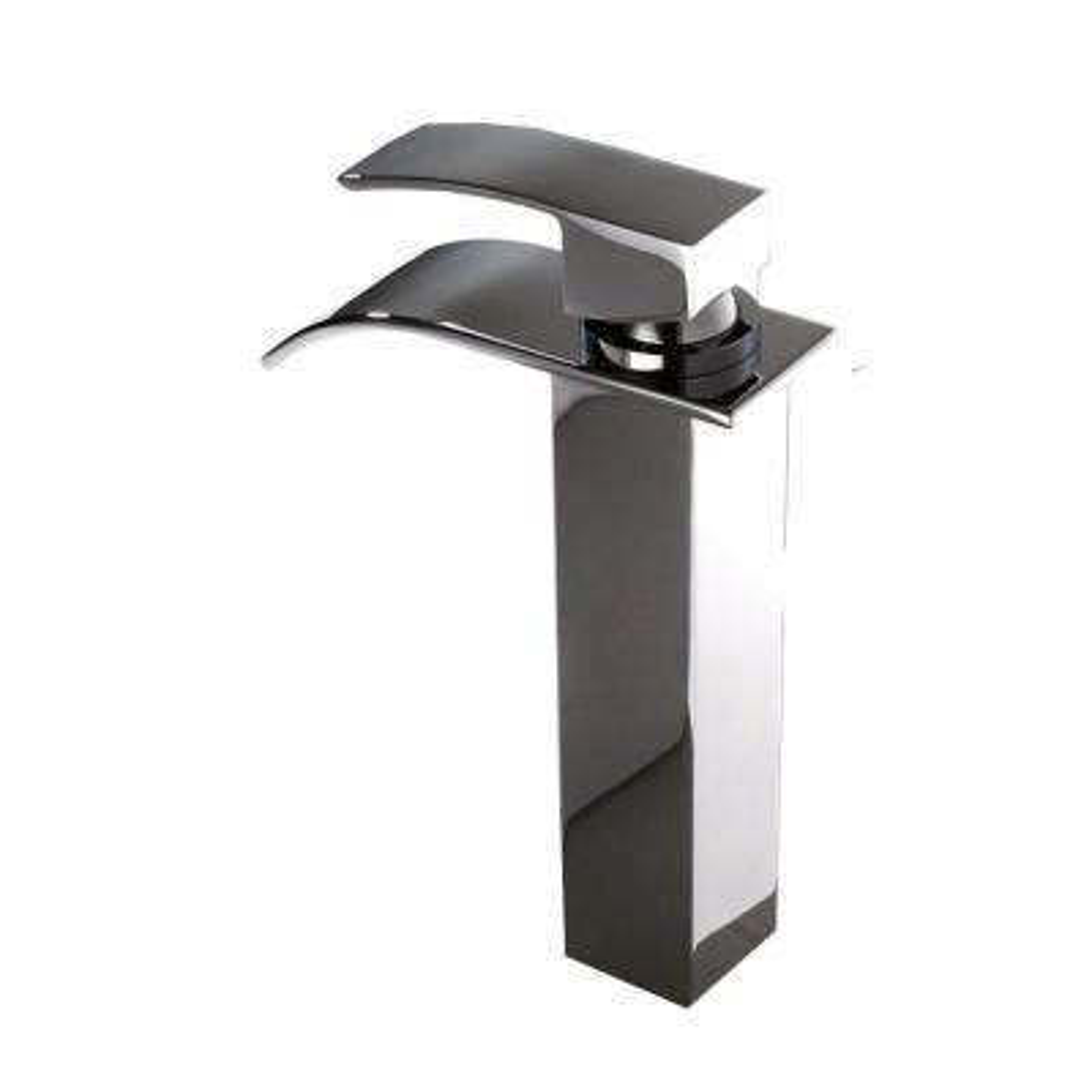 Single Hole 1-Handle Waterfall Bathroom Faucet in Chrome
