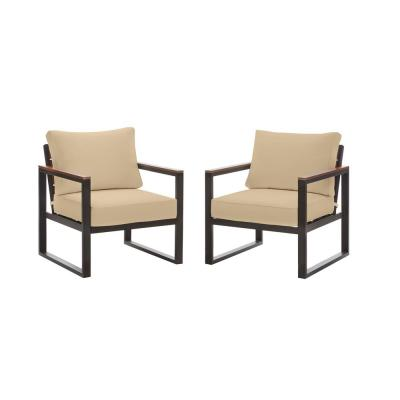 West Park Black Aluminum Outdoor Patio Lounge Chair with Sunbrella Beige Tan Cushions (2-Pack)