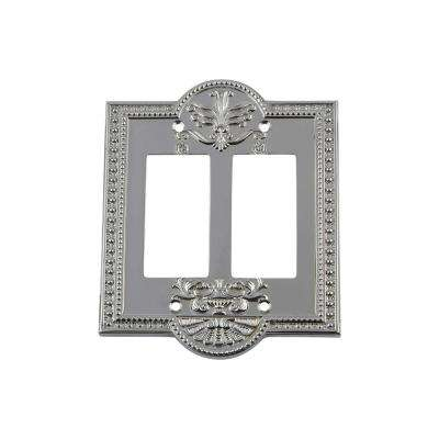 Meadows Switch Plate with Double Rocker in Bright Chrome