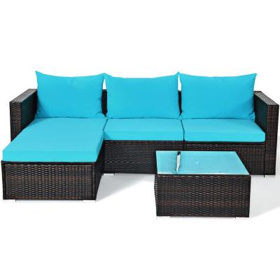5-Piece Wicker Outdoor Sectional Set with Cushion Blue