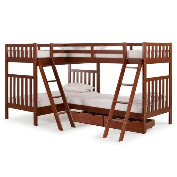Alaterre Furniture Aurora Chestnut Twin Over Twin Bunk Bed with Quad
