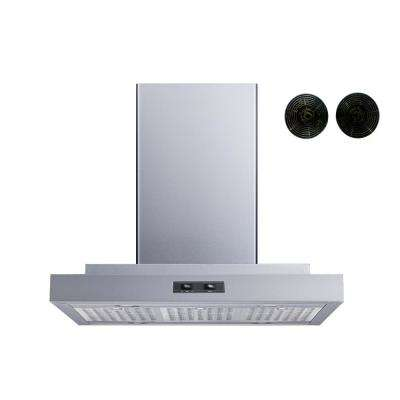 36 in. Convertible Island Mount Range Hood in Stainless Steel with Stainless Steel Baffle Filters and Carbon Filters