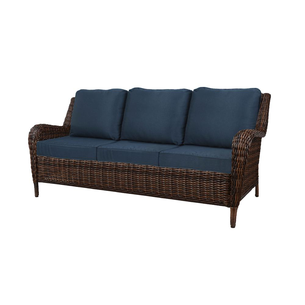 Hampton Bay Cambridge Brown Wicker Outdoor Patio Sofa with Standard  Midnight Navy Blue Cushions