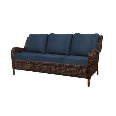 Cambridge Brown Wicker Outdoor Patio Sofa with Standard Midnight Navy Blue Cushions