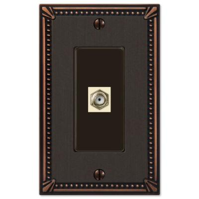 Imperial Bead 1 Gang Coax Metal Wall Plate - Aged Bronze