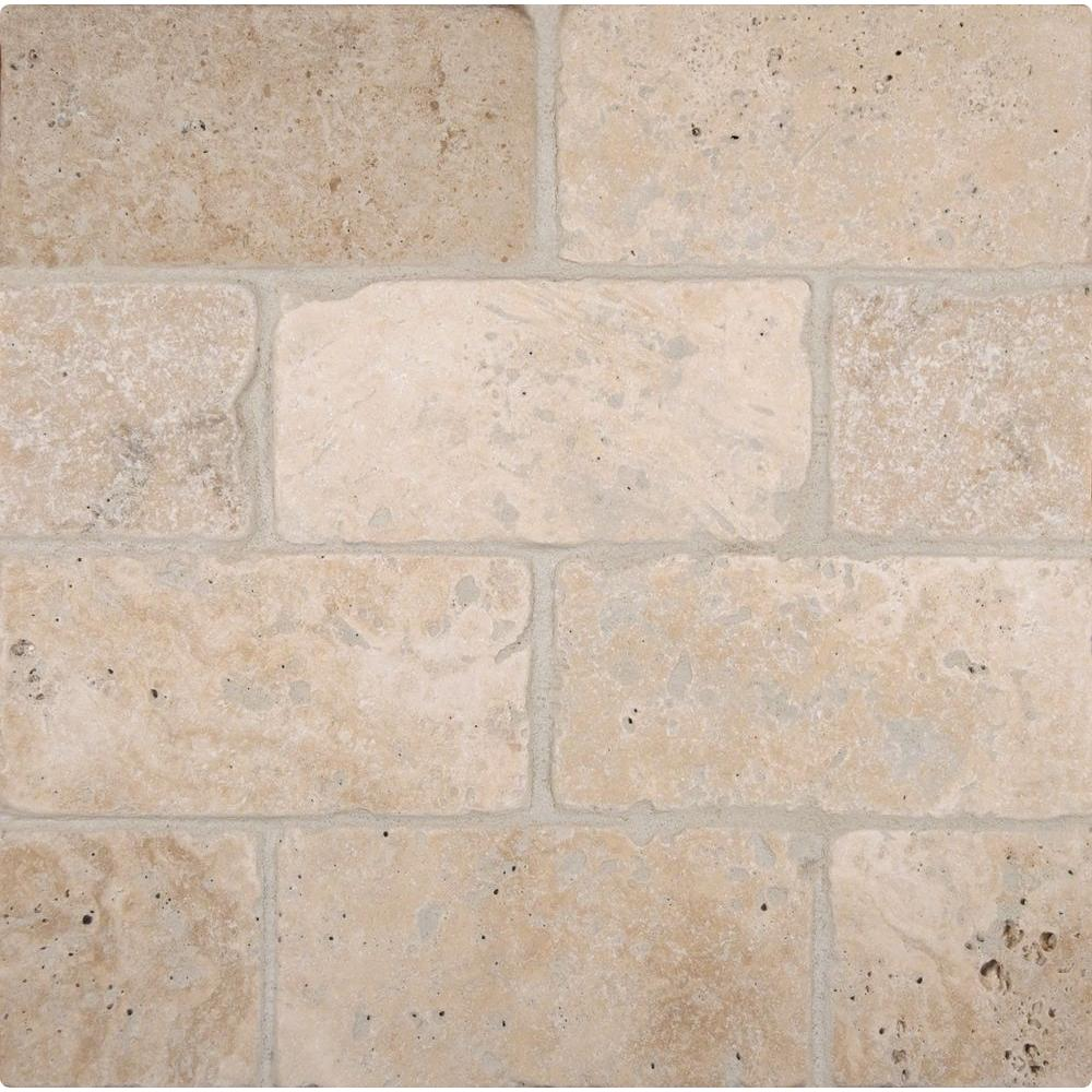 MSI Bologna Chiaro 3 in. x 6 in. Tumbled Travertine Floor and Wall ...