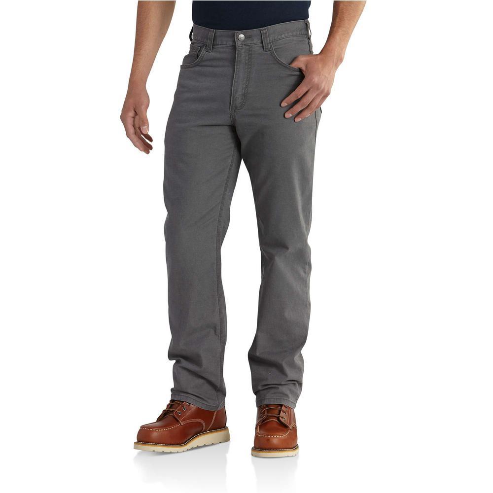 Men's 36 in. x 30 in. Gravel Cotton/Spandex Medium Rugged Flex Rigby 5-Pocket Pant