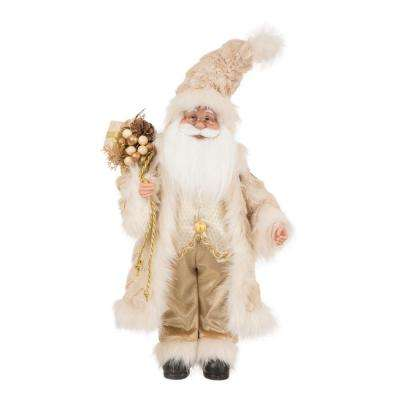 18 in. H Faux Fur Christmas Santa Claus Figurine
