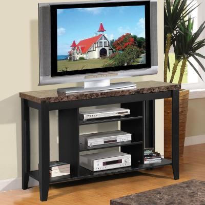Home Source Black Kevin Plasma TV Stand with Faux Marble Top and 3-Shelves