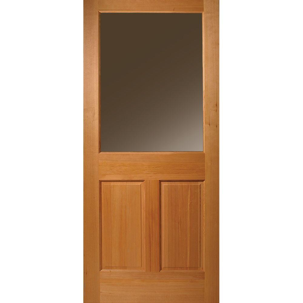 Masonite 32 in. x 80 in. Half Lite 2-Panel Unfinished Fir Wood ...