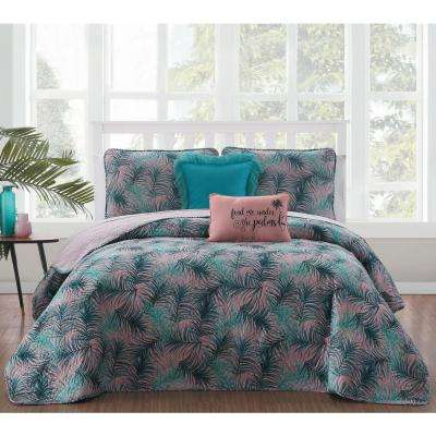 Ailani 5-Piece Blue/Green Queen Quilt Set