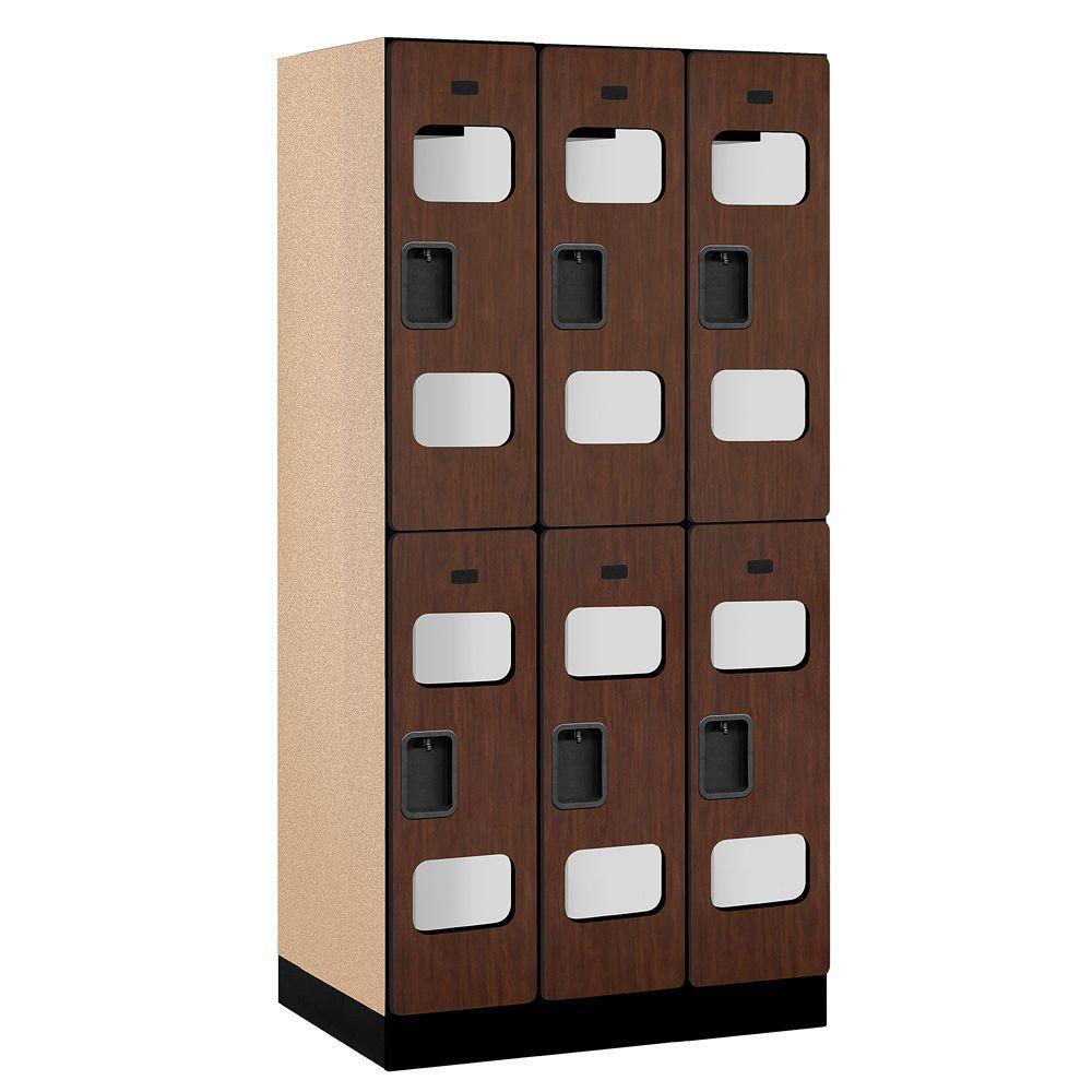 S-32000 Series 36 in. W x 76 in. H x 21 in. D 2-Tier See-Through Designer Wood Locker in Mahogany