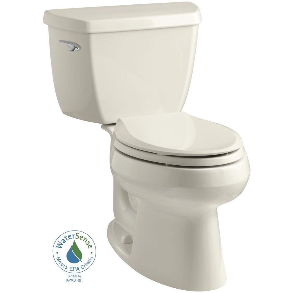 KOHLER Wellworth Classic 2-piece 1.28 GPF Single Flush Elongated Toilet in Almond