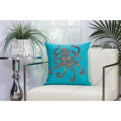 Beaded Octopus Turquoise and Coral Animal Print Polyester 18 in. x 18 in. Throw Pillow