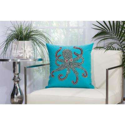 Beaded Octopus 18 in. x 18 in. Turquoise and Coral Indoor and Outdoor Pillow