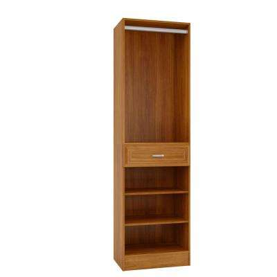 15 in. D x 24 in. W x 84 in. H Sienna Cognac Melamine with 3-Shelves, Drawer and Hanging Rod Closet System Kit