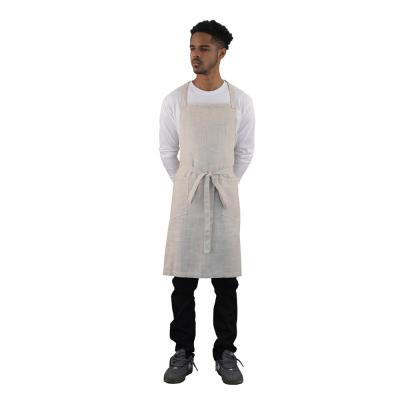Basic 2 Patch Pocket Linen Butcher Apron, Natural