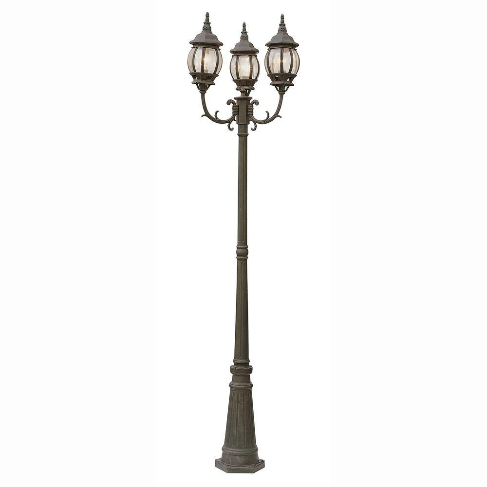 Bel Air Lighting Filigree 3 Light Rust Outdoor Lamp Post With Clear Glass