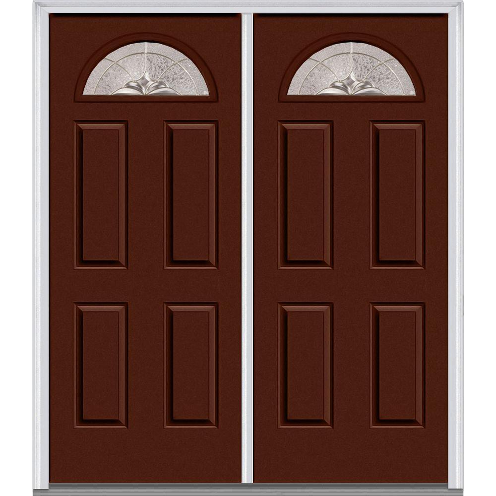 MMI Door 72 in. x 80 in. Heirloom Master Right-Hand Inswing Fan Lite Decorative Glass 4-Panel Painted Steel Prehung Front Door