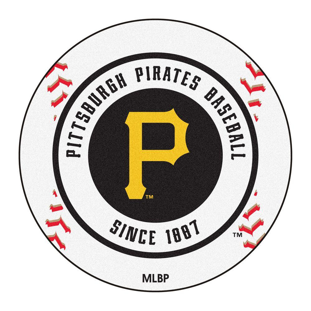 MLB Pittsburgh Pirates White 2 ft. 3 in. x 2 ft. 3 in. Round Accent Rug