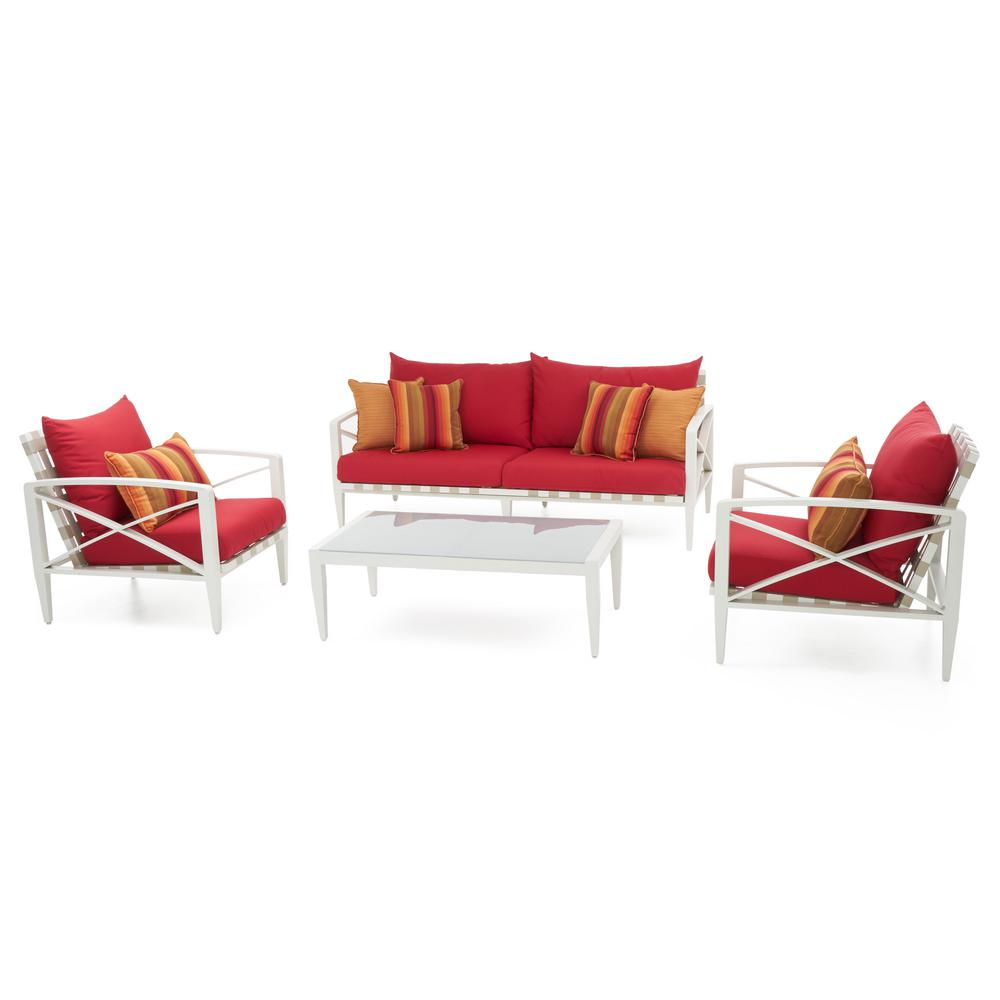 Knoxville Cream 4-Piece Aluminum Patio Seating Set with Sunset Red Cushions