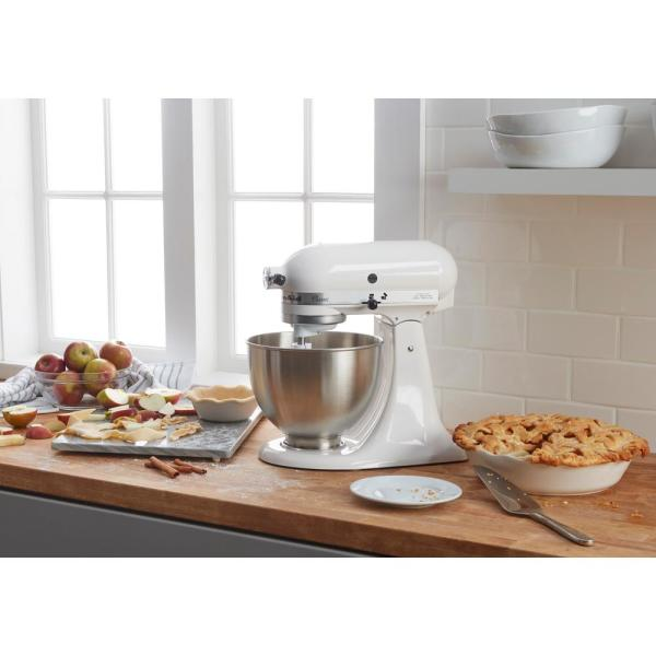 Kitchenaid Classic Series 4 5 Qt 10 Speed White Stand Mixer With Tilt Head K45sswh The Home Depot