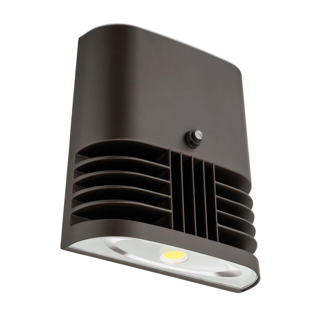 Dark Bronze 20-Watt 4000K Cool White Outdoor Photocell Dusk to Dawn Low-Profile LED Wall Pack Light