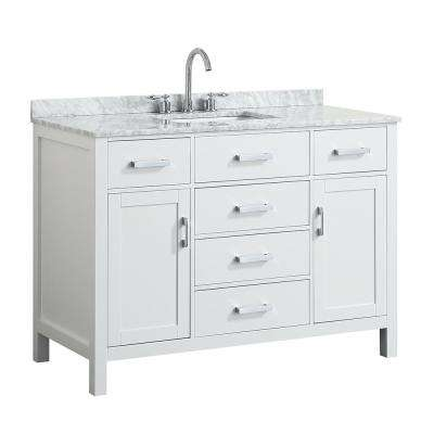 Hampton 49 in. W x 22 in. D Bath Vanity in White with Marble Vanity Top in White with White Basin