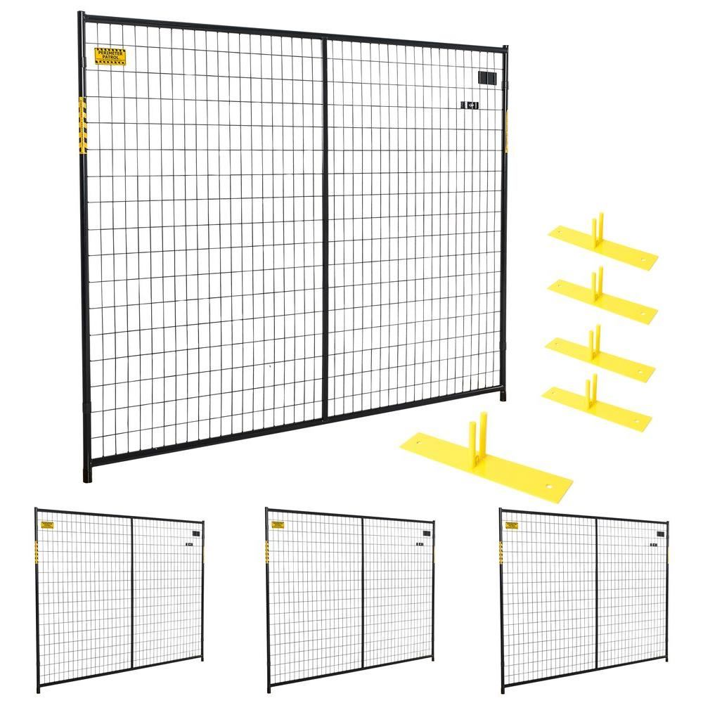 Perimeter Patrol 6 ft. x 29 ft. 4-Panel Black Powder-Coated Welded ...