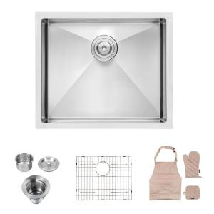 Aurora Decor Hahn Stainless Steel 16 Gauge 21 In L X 18 In W Single Bowl Corner Undermount Kitchen Sink With Bottom Grid Skslh24102ss The Home Depot