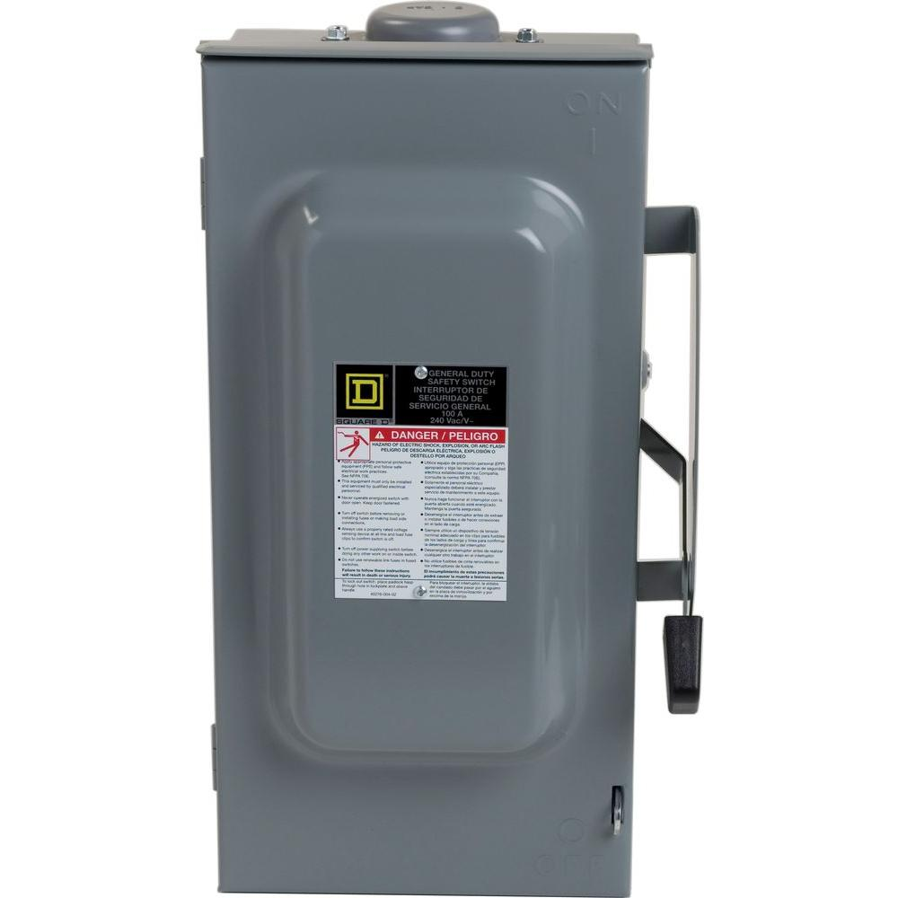 Square D 100 Amp 240 Volt 3 Pole 3 Phase Fused Outdoor General Duty Safety Switch D323nrb The Home Depot