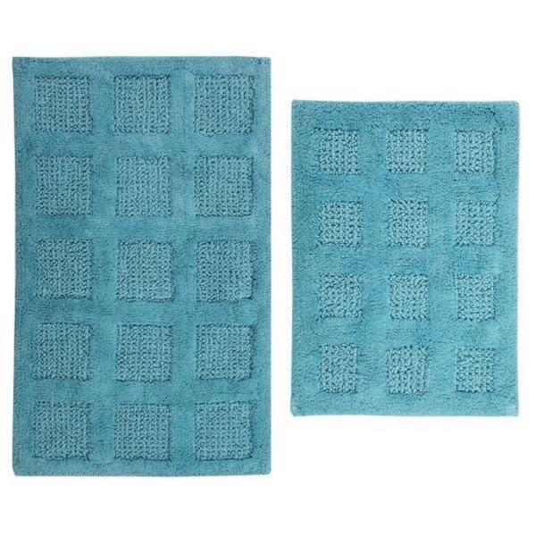 PERTHSHIRE Square Honey Comb Aqua 17 in. x 24 in. and 30 in. x 20 in. 2-Piece Reversible Bath Rug Set