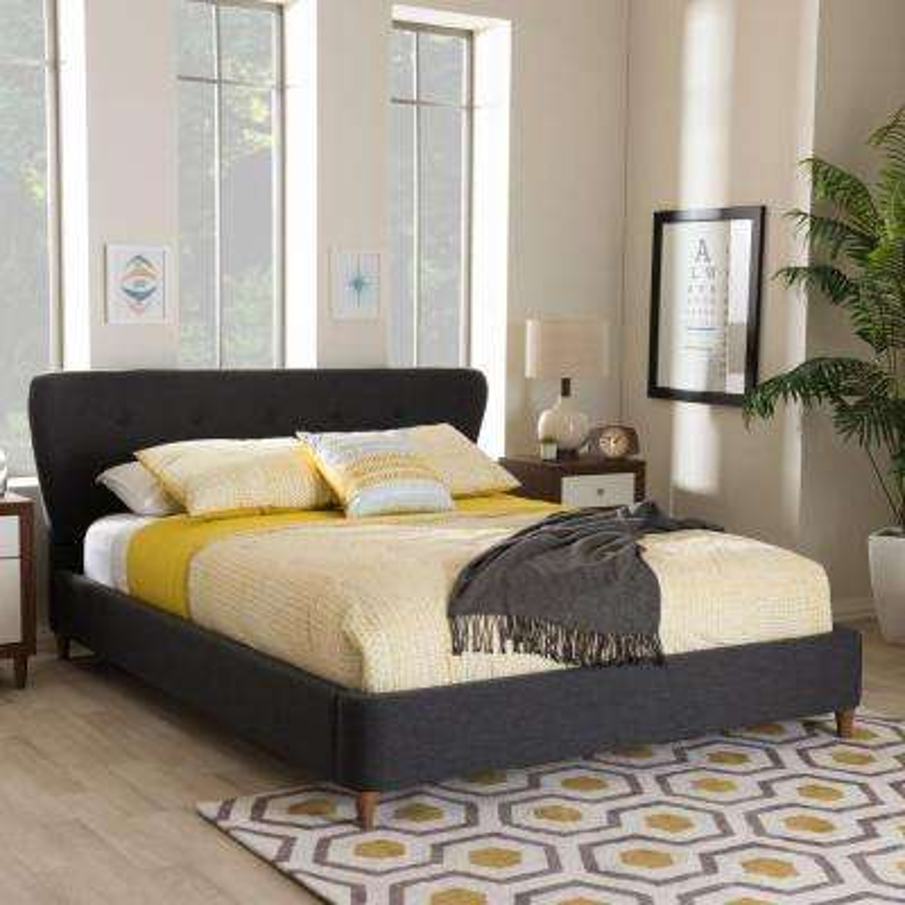 Camden Mid-Century Dark Gray Fabric Upholstered King Size Bed