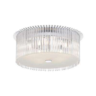 5-Light Chrome Ceiling Lamp with Frosted and Clear Decorative Glass