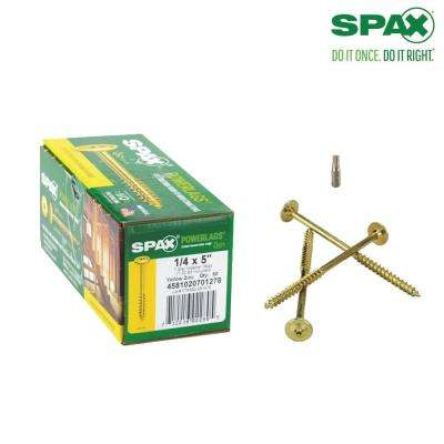 1/4 in. x 5 in. T-Star Drive Washer Head Yellow Zinc Coated PowerLag Screw Contractor Pax (50-Box)