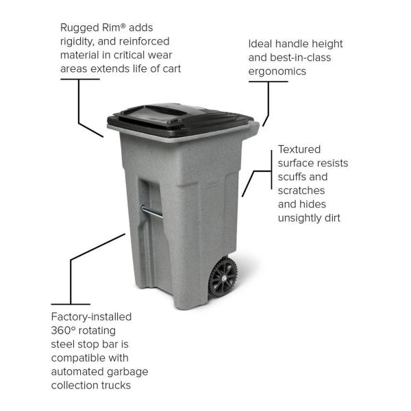 Toter 32 Gal Greenstone Trash Can With Wheels And Attached Lid 79232 R2968 The Home Depot