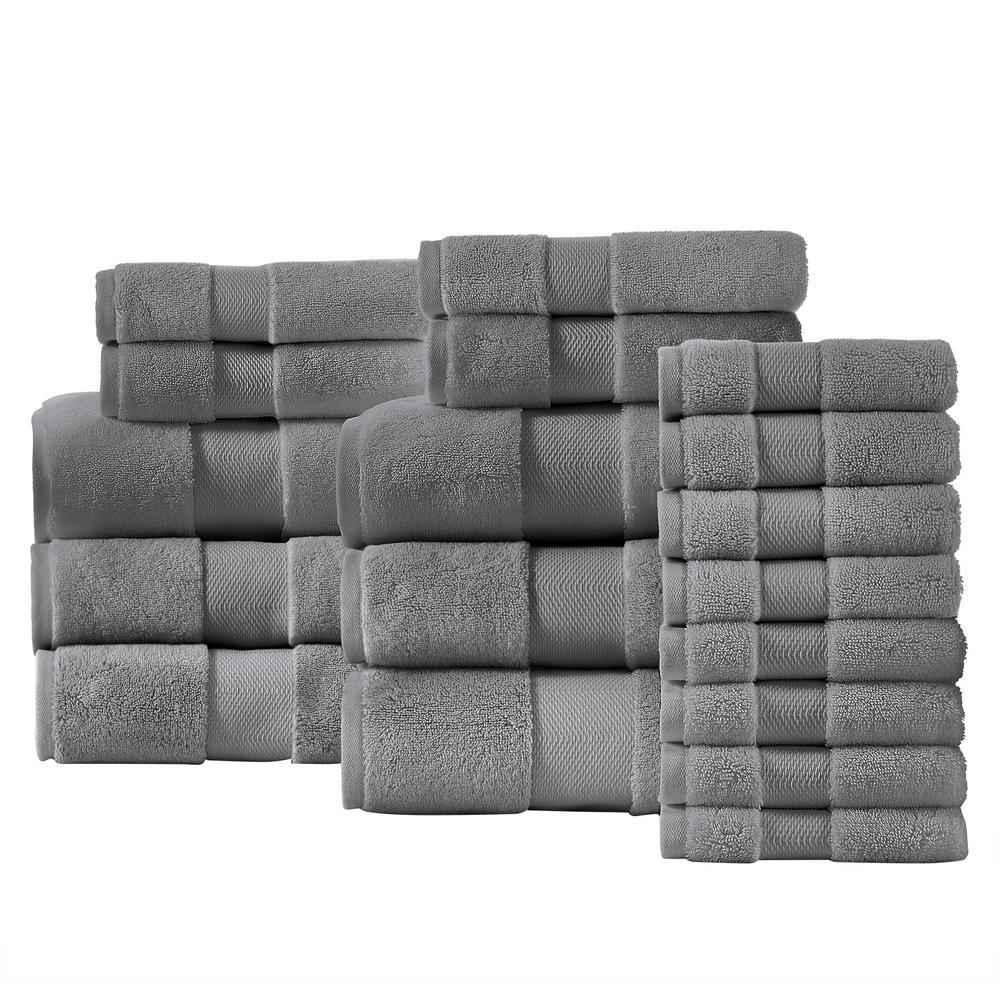 Plush Soft Cotton 18-Piece Towel Set in Stone Gray