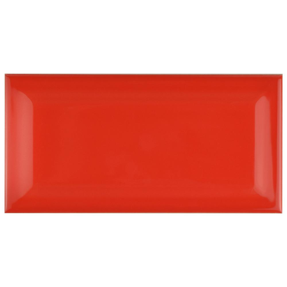 Park Slope Beveled Subway Apple Red 3 in. x 6 in.