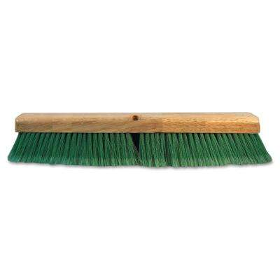 24 in. Green Flagged Recycled Pet Plastic Push Broom Head