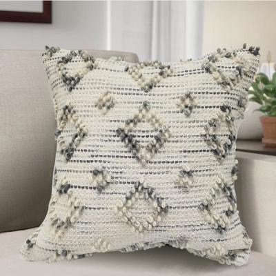 Ravish Ivory and Gray Geometric Polyester 18 in. x 18 in. Throw Pillow